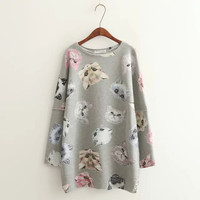 Gray Cat Head Print Sweater