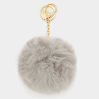 Faux Rabbit Fur Pom Pom Keychain, Key Ring Bag Pendant Accessory - Light Brown