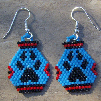Wolf Paw Pottery Earrings Hand Made Seed Beaded Native Inspired