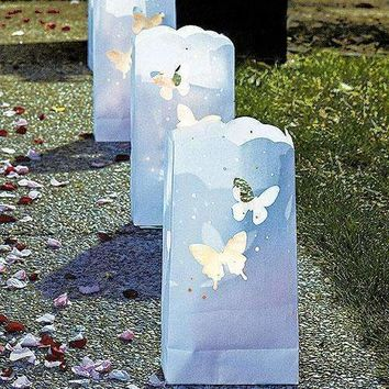 """""""Light The Way"""" White Paper Bags with Die-Cut Butterfly Pattern (Pack of 12)"""