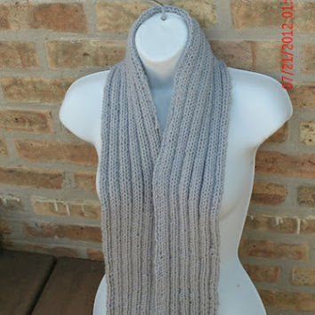 Hand Knit Scarf - Ribbed Scarf in gray - Fall Accessories - Winter Accessories - Unisex Scarf