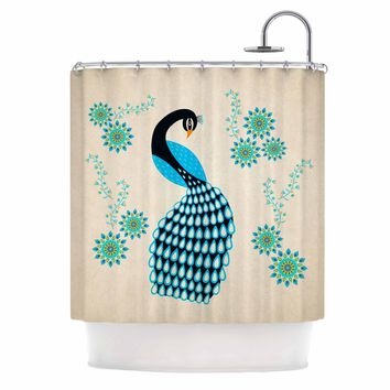 "Cristina Bianco Design ""Peacock"" Blue Black Illustration Shower Curtain"