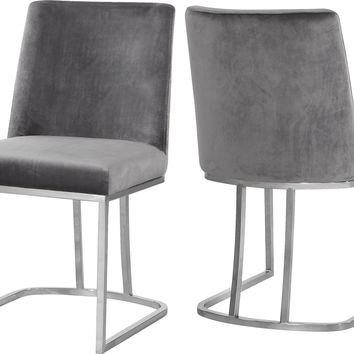 Heidi Grey Velvet Dining Chair (set of 2)