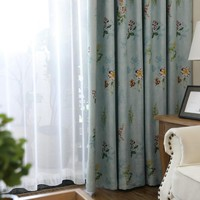Customized light blue blackout kitchen curtains panels for living room