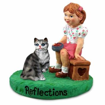 SILVER SHORTHAIRED TABBY CAT W/GIRL FIGURINE