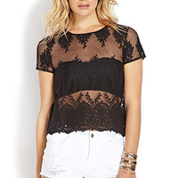 FOREVER 21 Mysterious Mesh Lace Top