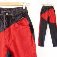 Vintage 80s 90s High Waist Black and Red Colorblock Jeans - Women's Gray Western Ethics Jeans - Size 0 Long 22 Waist