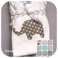 Elephant Baby Gift Set, Two Burp Cloths and a Onepiece, Yellow and Grey Elephant, Elephant Baby Shower Gift, Gender Neutral Elephant Gift