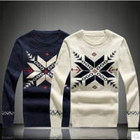 Mens Large Snowflake Christmas Sweater