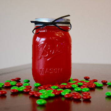Christmas Decorations, Christmas Decor, Red Mason Jar, Red Christmas Decor, Candy Jar, Pint Mason Jar, Mason Jar Decor, Winter Decor