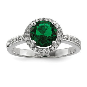 Sterling Silver White & Green CZ Brilliant Embers Halo Ring