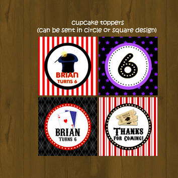 Magician Cupcake Toppers with Wrappers - Magic Show Party Birthday Cupcake Toppers - Abra Cadabra Cupcake Toppers - Printable