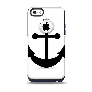 The Solid Black Anchor Silhouette Skin for the iPhone 5c OtterBox Commuter Case