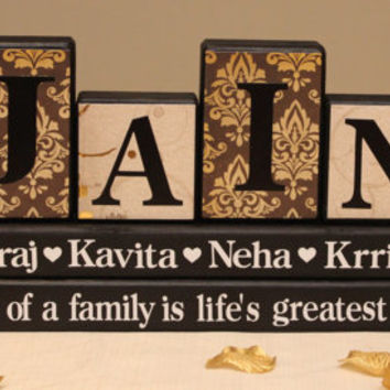 Personalized Family Name (4 Letters) on Wood Blocks