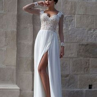 Long Sleeve White A-Line Long Prom Dresses Evening Dresses