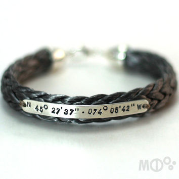 Personalized bracelet with Spectra rope and Sterling silver, longitude latitude engraved