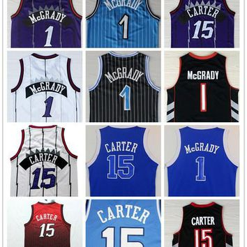 Top Quality #1 Tracy McGrady Jersey Throwback North Carolina #15 Vince Carter College Basketball Jersey 2017 New Blue Purple Black White