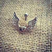 Surgical steel heart with wings belly ring. Navel ring. Country girl.