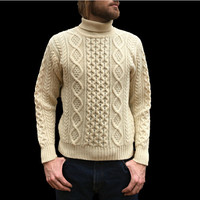 Vintage 1970's Thick Knit Aran Sweater - 100% Wool - Sears, The Men's Store - Fisherman Style Turtleneck - Cables - Men's Size Large (L)