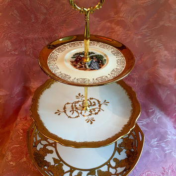 Marie Antoinette, Gold Tiered Tray, Three Tiered Stand, 3 Tier Cake Stand, 3 Tier Serving Tray, Tiered Serving Tray, Three Tier Cake Stand