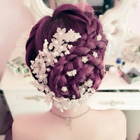 Women Bride Wedding Flower Beads Pearls Headwear Hair Accessories (Size: Pearl, Color: White)