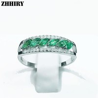 Women Natural Emerald Ring Genuine 925 Sterling Slver Precious Gemstone Fine Jewelry ZHHIRY