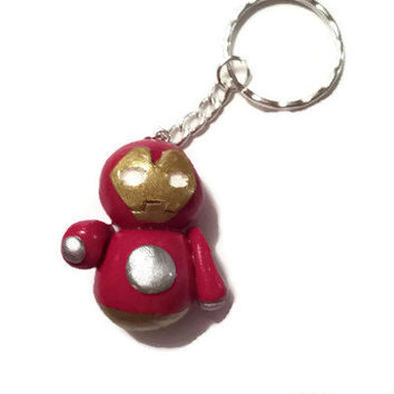 Iron Man Keychain - Marvel Key Holder - Iron Man Accessories - Marvel Accessories - Polymer Clay Chibi Iron Man - Cute Marvel Pendant