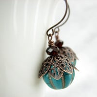 Turquoise Gemstone Dangle Copper Ea.. on Luulla