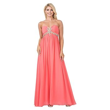 Pleated Strapless Studded Long Coral A Line Prom Gown Empire Waist