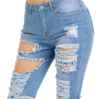 Knee Length Ripped Jean Shotrs