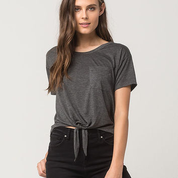 FULL TILT Tie Front Womens Pocket Tee | Knit Tops + Tees