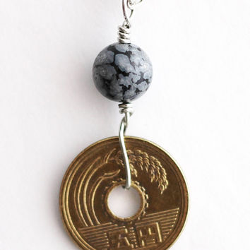 Japanese 5 Yen Coin Necklace Good Luck Coin Authentic Undrilled Coin Obsidian Stone Pendant Jewelry by Hendywood