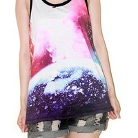 Earth Nebula Star Cluster Universe Tank Top Singlet Sleeveless Size S