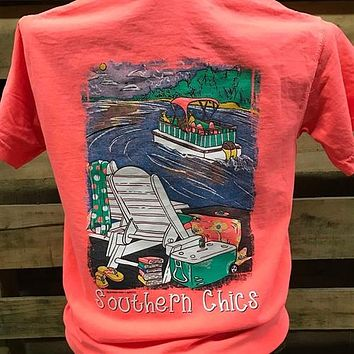 Southern Chics Pontoon Boat Lake Bright Comfort Colors Unisex T Shirt