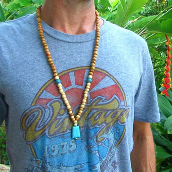 108 Beaded Mala Necklace / Ethnic Tribal Necklace / Turquoise & Howlite Beaded Long Necklace / Mala Bead Necklace / Hippie Surfer Necklace