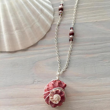 Seashell Necklace - Red Shell Necklace - Beach Shell Jewelry - Long Boho Necklace - Beach Boho - Long Bohemian Necklace - Beach Jewelry