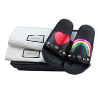 GUCCI rainbow love tiger head, pearl diamond, women's slippers