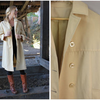 1960s Vintage Cream Yellow Trench Coat by The Puget Sounder Size Medium
