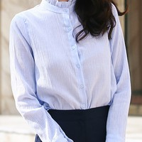 Mo Vent High Neck Frill Blouse