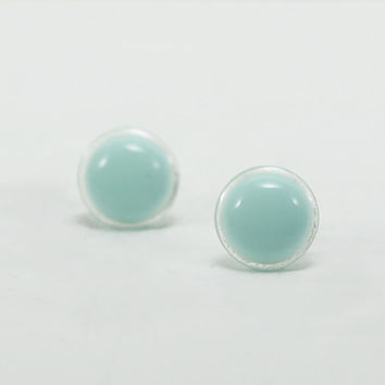 Mint Green Stud Earrings 12mm - Mint Green Earrings - Mint Small Studs - Waterproof Round Earrings Studs - Surgical Steel Earring Post
