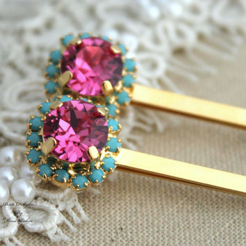 Bridal Bobby pins Swarovski Pink Turquoise Rhinestone hair accessories - 14k Gold plated aqua pink crystals
