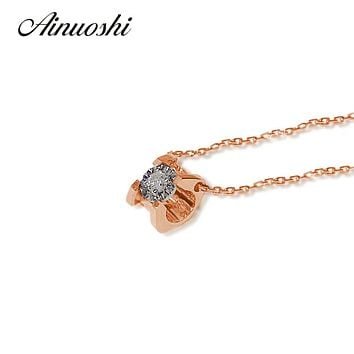 AINUOSHI 18K Rose Gold Horns Shape Necklace Pendants 0.05ct Real Diamond Luxury Women 18 Inches Necklace Pendants Christmas Gift