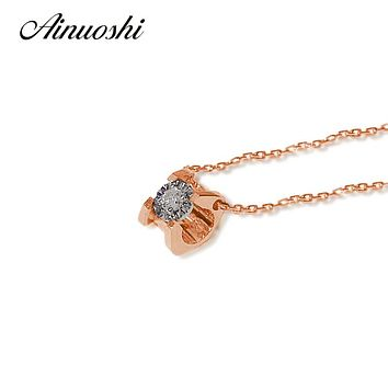 AINUOSHI 18K Gold Horn Shaped 0.05ct Diamond 18in Pendant Necklace for Women