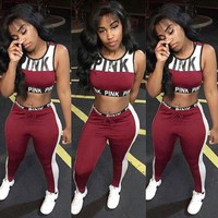 Victoria Pink Fashion New Letter Print Leisure Sports Vest Top And Pants Two Piece Suit Women Burgundy