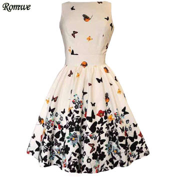 ROMWE Ladies Casual Dresses 2016 New Summer Womens White Round Neck Sleeveless V Back Butterfly Print A Line Dress