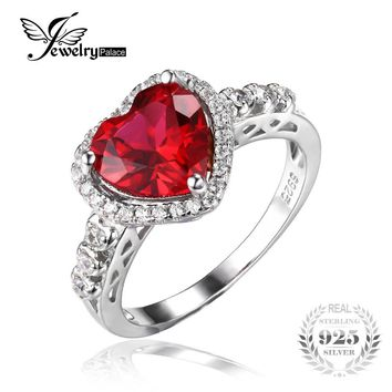 JewelryPalace Heart Of Ocean 2.7ct Red Created Ruby Love Forever Halo Promise Ring 925 Sterling Silver Rings for Women Fashion