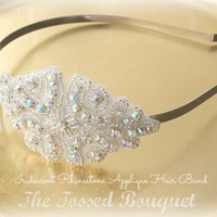 Bridal Headband, Applique Hair Band of Iridescent Rhinestones & Silver Beads, Beaded Wedding Headpiece, Hairpiece, Applique Bridal Hair Band
