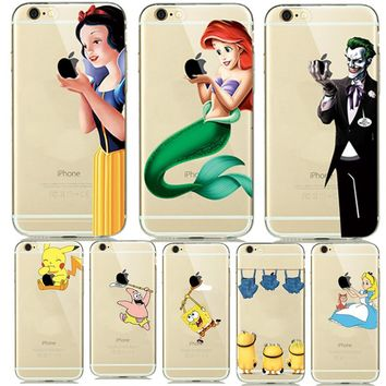 Fashion New Soft TPU Silicone Covers for fundas iphone 7 8 Plus 6 6S 5 5SE Cartoon Animals Phone Cases Pokemons Mermaid Capinhas