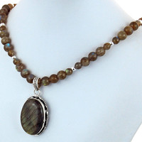 Labradorite Pendant Necklace, Gemstone Statement Necklace