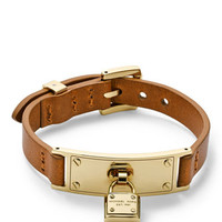 Michael Kors Leather Belt Bracelet, Golden/Luggage